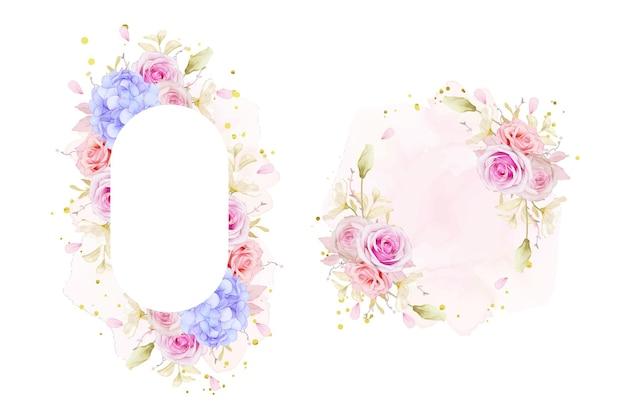 Красивая цветочная рамка с акварельными розами и синим цветком гортензии