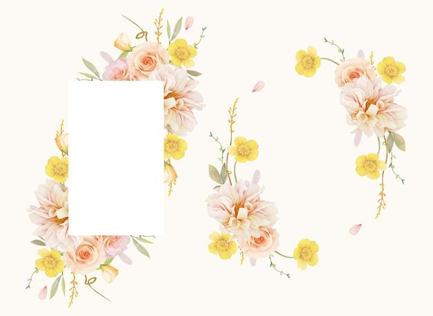 수채화 장미와 달리아와 아름 다운 꽃 프레임