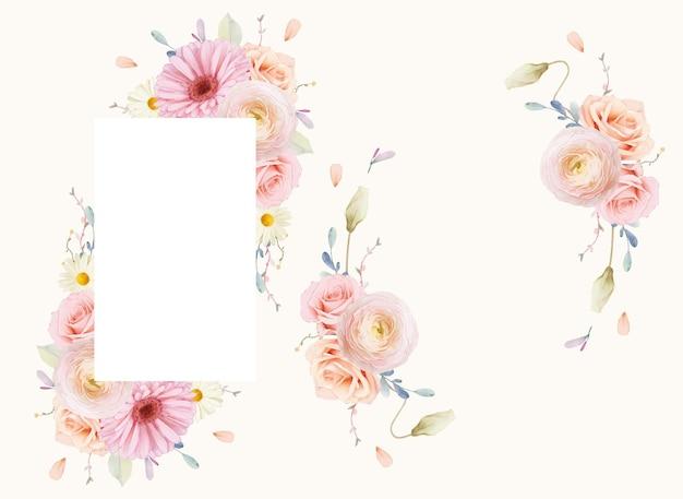 水彩のバラとガーベラの美しい花のフレーム 無料ベクター