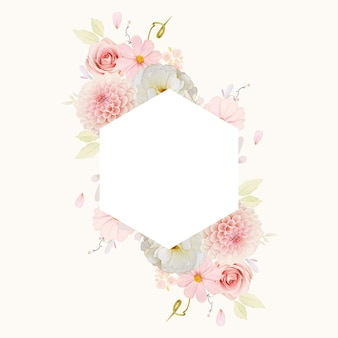 水彩のバラとピンクのダリアと美しい花のフレーム