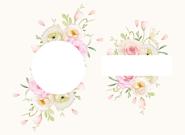수채화 장미와 라 눈큘 러스와 아름다운 꽃 프레임
