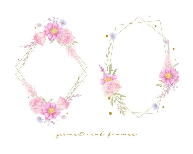 Bella cornice floreale con rose dell'acquerello e fiori di anemone