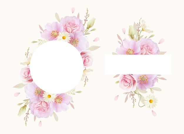 Bella cornice floreale con rose dell'acquerello e fiore di anemoni