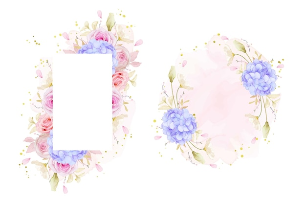 Beautiful floral frame with watercolor roses and blue hydrangea flower