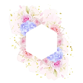 Bella cornice floreale con rose dell'acquerello e fiore di ortensie blu