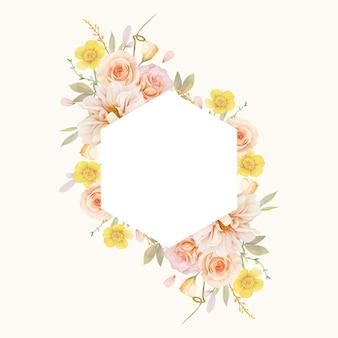 Bella cornice floreale con rose dell'acquerello e dalia