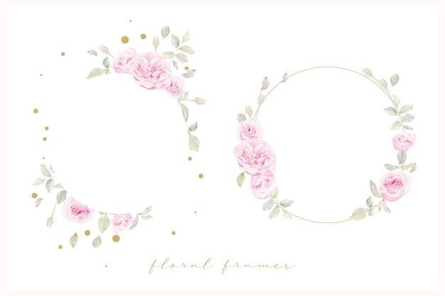 Beautiful floral frame with watercolor roses flower