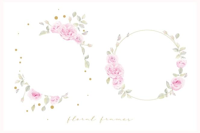 水彩のバラの花と美しい花のフレーム