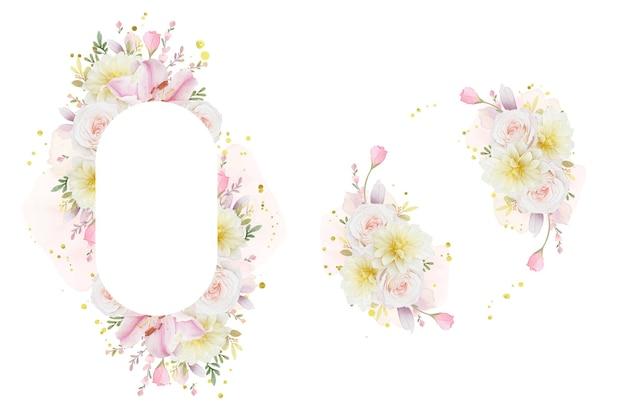 Красивая цветочная рамка с акварельными розами, лилией и цветком георгина