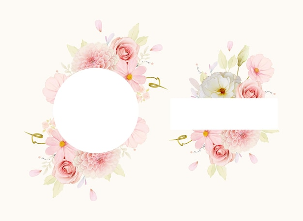 Beautiful floral frame with watercolor roses and pink dahlia