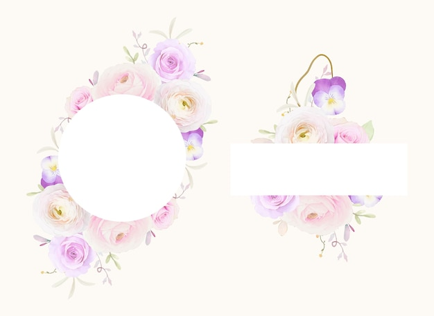Beautiful floral frame with watercolor roses ranunculus and pansy flower