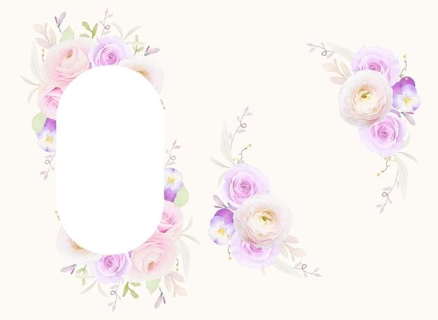 Bella cornice floreale con ranuncolo di rose dell'acquerello e fiore viola del pensiero