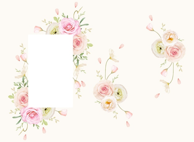 Beautiful floral frame with watercolor roses and ranunculus