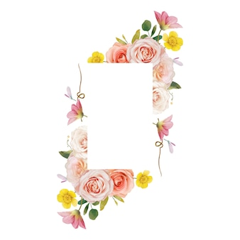 Beautiful floral frame with watercolor roses and zinnia