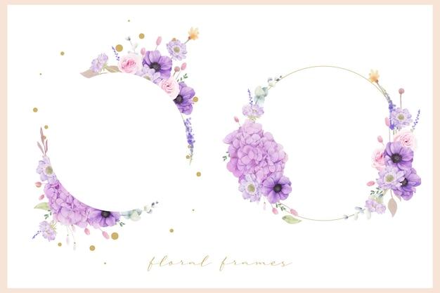 수채화 장미와 아름 다운 꽃 프레임