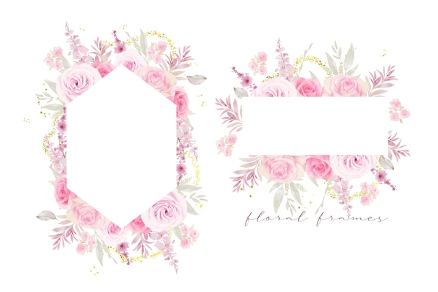 Beautiful floral frame with watercolor roses