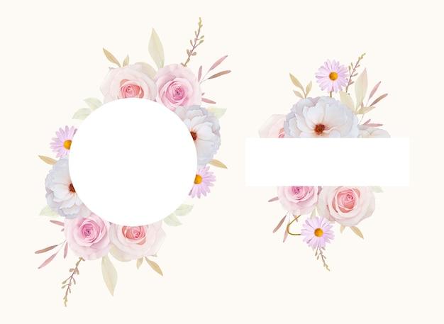 水彩のバラと美しい花のフレーム