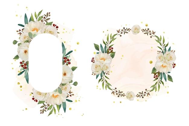 Красивая цветочная рамка с акварельной белой розой и цветком пиона