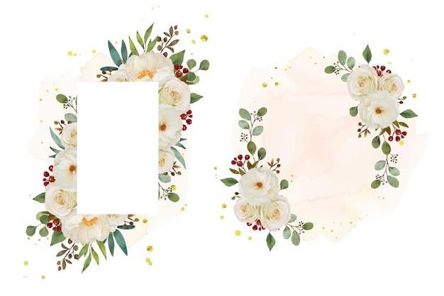 Bella cornice floreale con rosa bianca dell'acquerello e fiore di peonia