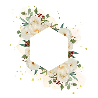Beautiful floral frame with watercolor white rose and peony flower