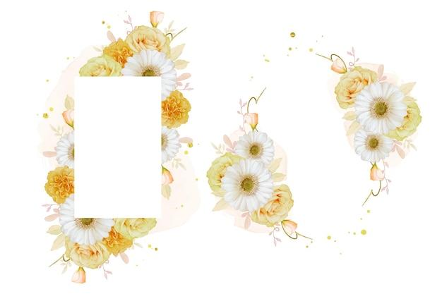 수채화 노란 장미와 흰 거베라 꽃과 아름 다운 꽃 프레임