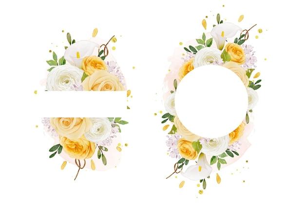 수채화 노란 장미 백합과 꽃 꽃과 함께 아름 다운 꽃 프레임
