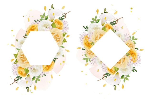 Beautiful floral frame with watercolor yellow rose  lily  and ranunculus flower
