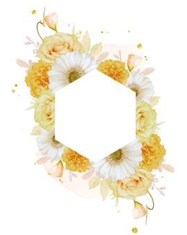 Bellissima cornice floreale con rosa gialla ad acquerello e fiore di gerbera bianca