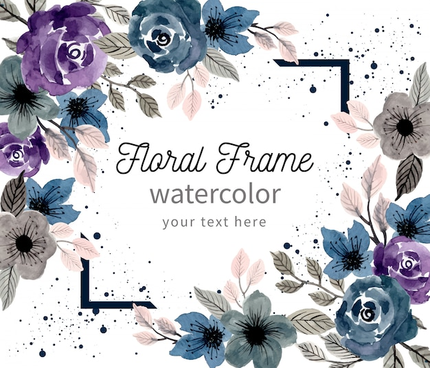 Beautiful floral frame with watercolor