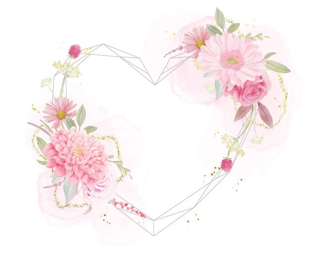 Красивая цветочная рамка с акварельными розами, георгинами и герберами