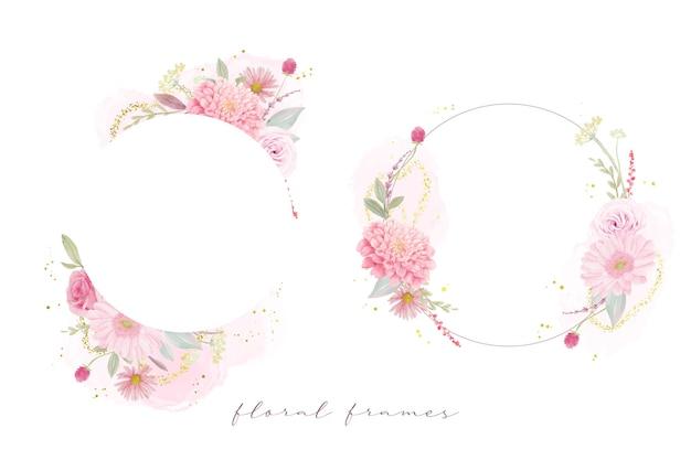 水彩のバラ、ダリア、ガーベラの花と美しい花のフレーム