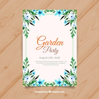 Beautiful floral garden party invitation