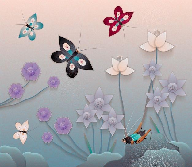 ペーパーアートスタイルの蝶と美しい花の庭園