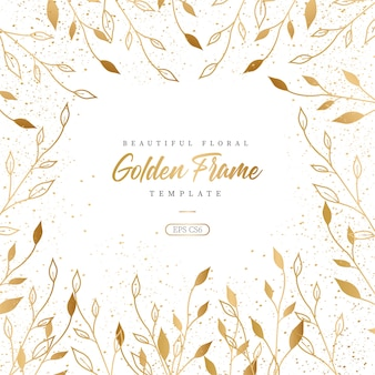 Beautiful floral golden frame template