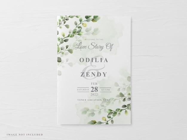 美しい花柄の手描きの結婚式の招待カードテンプレート