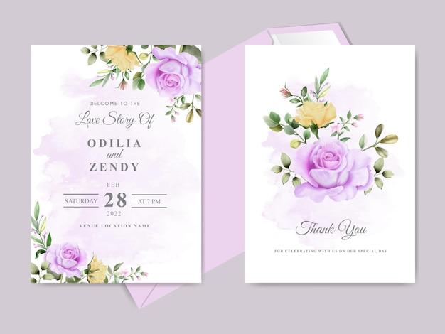 아름다운 꽃 손으로 그린 청첩장 카드 템플릿
