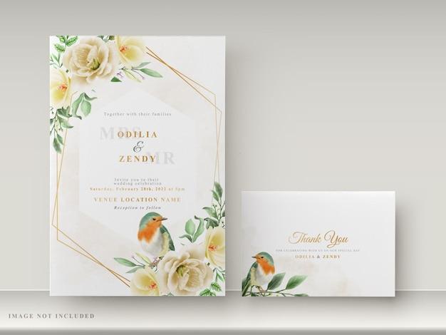 Красивые цветочные рисованной шаблон свадебного приглашения