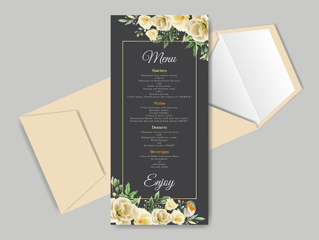 Beautiful floral hand drawn wedding invitation card template
