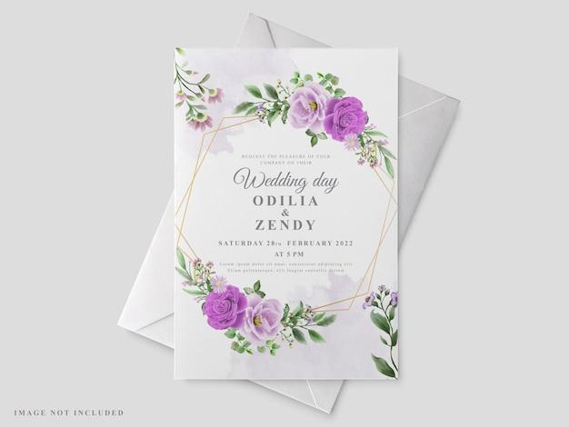 아름 다운 꽃 손으로 그린 청첩장 카드 서식 파일