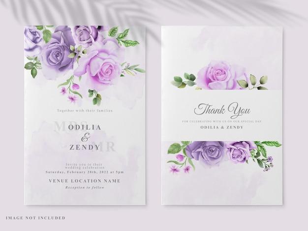 Beautiful floral hand drawn wedding invitation card