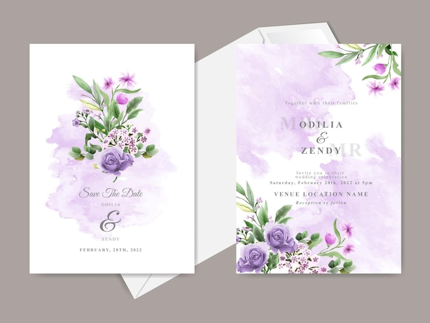 Beautiful floral hand drawn wedding invitation card