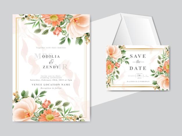 Красивая цветочная рисованная свадебная пригласительная открытка