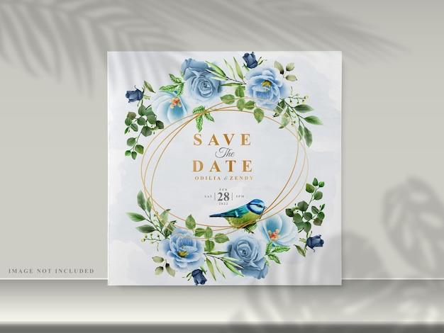 美しい花柄の手描きの結婚式の招待カード