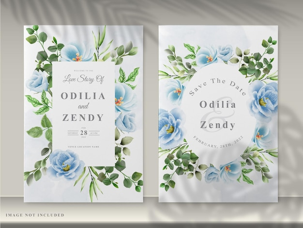 아름다운 꽃 손으로 그린 청첩장 카드