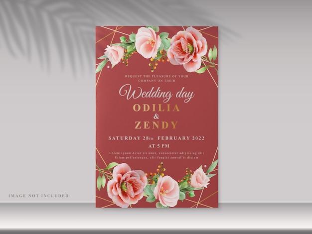 Красивые цветочные рисованной свадебные приглашения