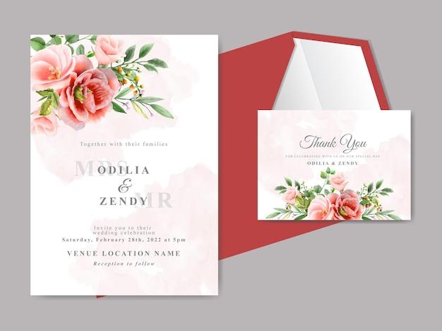 Beautiful floral hand drawn wedding invitation cards
