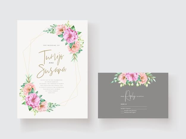 美しい花の招待カードテンプレート