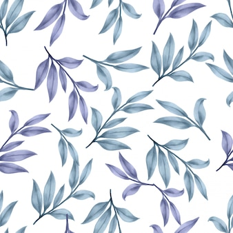 Beautiful floral leaf patterns watercolor blue leaves