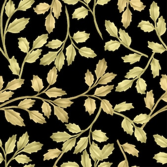 Beautiful floral leaf patterns watercolor gold leaves