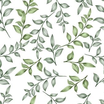 Красивые цветочные узоры листьев акварель зеленые листья